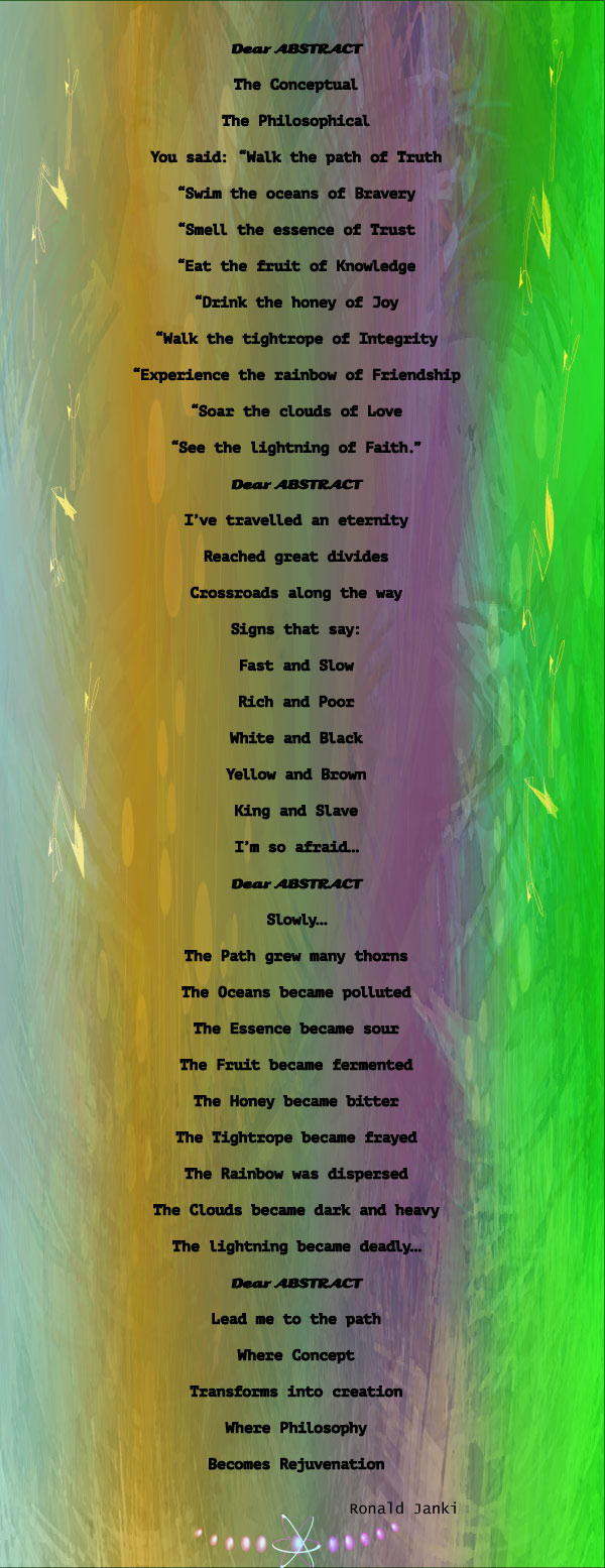 Dear Abstract - A poem by Ronald Janki